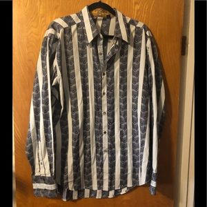 Robert Graham stripe embroidered button down XL